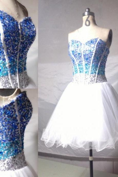 A Line Sweetheart Knee length Sequin and Beaded tulle Best Selling Party gown short Prom Dresses