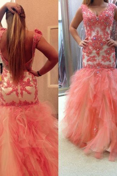 Prom Dresses Sexy Luxury Sparkle Pink Cheap V-neck Appliques Beads Prom Dress Formal Dress Evening Dress Party Prom Gowns