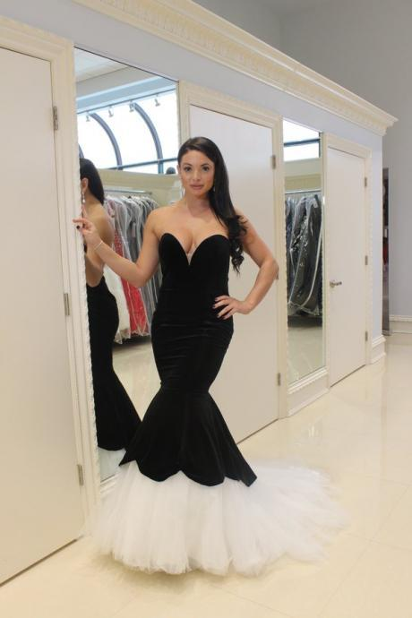 Prom Dresses Sexy Cheap Mermaid Black and White Sweetheart Satin Prom Dress Formal Dress Evening Dress Party Prom Gowns