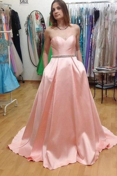 Prom Dresses Sexy Cheap A-line Pink Sweetheart Satin Prom Dress Formal Dress Evening Dress Party Prom Gowns