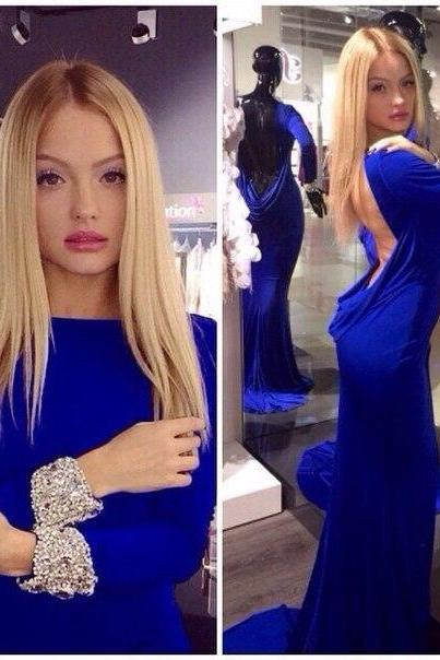 Prom Dresses Sexy Cheap Mermaid Royal Blue Boat Neck Backless Prom Dress Formal Dress Evening Dress Party Prom Gowns