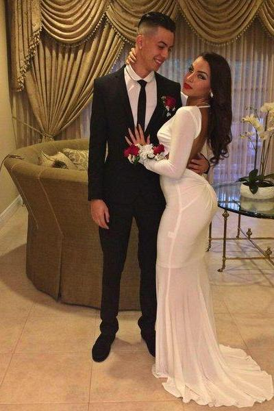 Prom Dresses Sexy Cheap Mermaid Long Sleeves Backless Prom Dress Formal Dress Evening Dress Party Prom Gowns