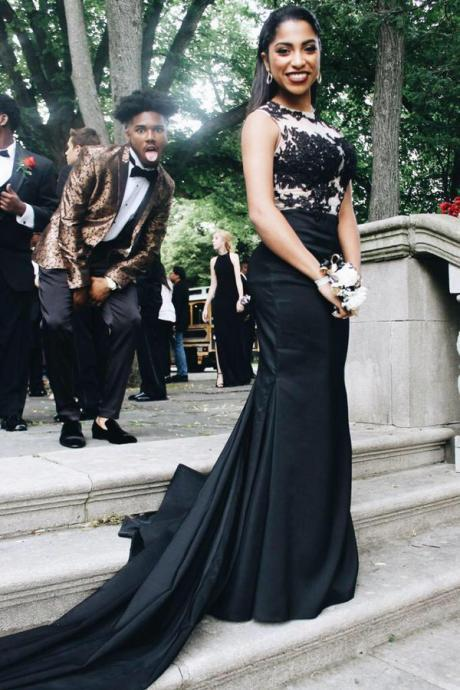 Prom Dresses Sexy Cheap Black Appliques Prom Dress Formal Dress Evening Dress Party Prom Gowns