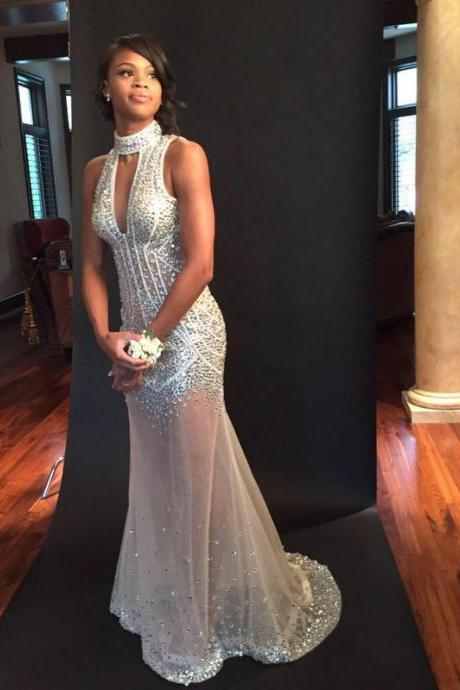 2016 Prom Dresses Sexy Mermaid Ivory Rhinestones Beads Long Prom Dress Backless Formal Long Evening Dress Party Gowns