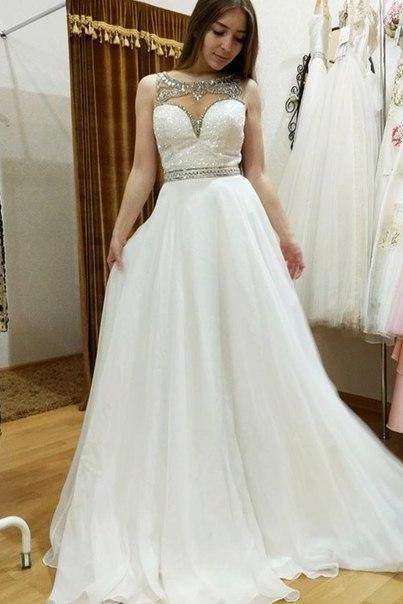 2016 Prom Dresses Sexy White Sheer Neck Beads Rhinestones Chiffon Long Prom Dress Formal Evening Party Gowns
