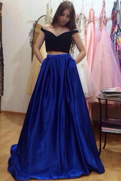 Prom Dresses,2016, Prom Dresses, Sexy ,Two Peiecs ,Simple ,Royal Blue ,Beads ,Rhinestones ,Chiffon, Long Formal Evening Party Gowns