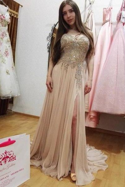 2016 Prom Dresses Luxury Sparkle Bling Light Pink Appliques Beads Rhinestones Long Formal Evening Party Gowns