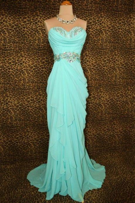 Elegant Mint Green Mermaid Prom Dresses Sweetheart Chiffon Draped Long Evening Gowns Formal Crystal Vestidos De Noche Customized