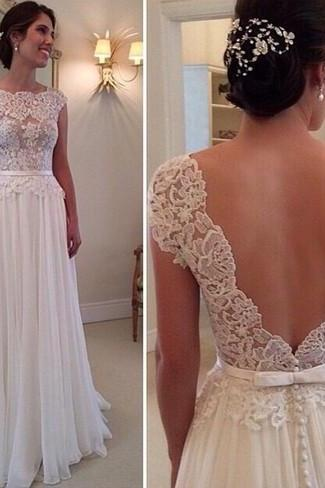 New Pure Elegant Prom Dress Cap Sleeve Lace Appliques Chiffon A Line Backless Evening Gown Customized