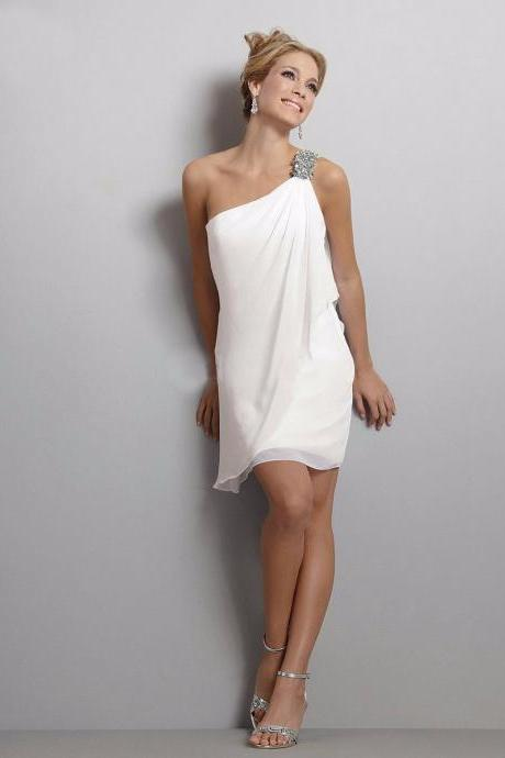 White Little Short Party Tail Dresses Off The Shoulder Sleeveless Beaded Prom Dress Vestidos Gasa Robe