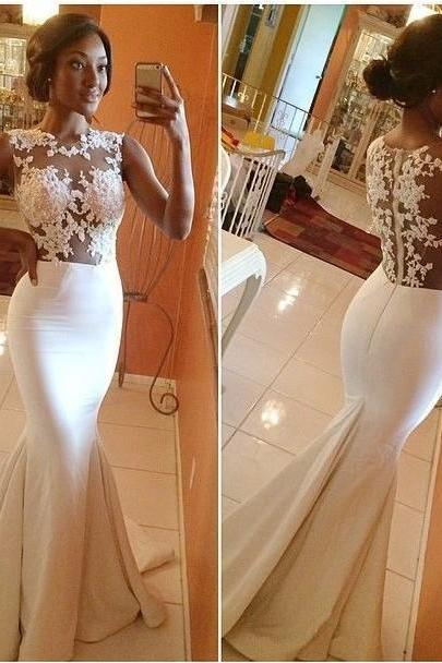 Gorgeous Mermaid Prom Dresses 2016 Hot Sale Sexy White Lace Appliques Ruffles Floor Length Evening Gown For Wedding Plus Size