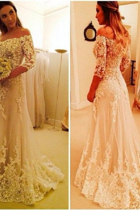 illusion Lace Wedding Dresses Ivory V Neck A Line Sexy Back Lace Half Sleeve Court Trai Bridal Gowns