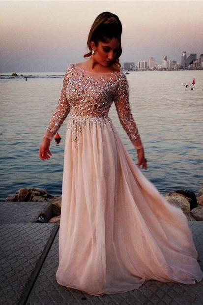 Gorgeous Crystal Beaded E Saab Prom Dresses Sheer Scoop Neck Long Sleeves Floor-Length Chiffon Formal Pageant Gowns
