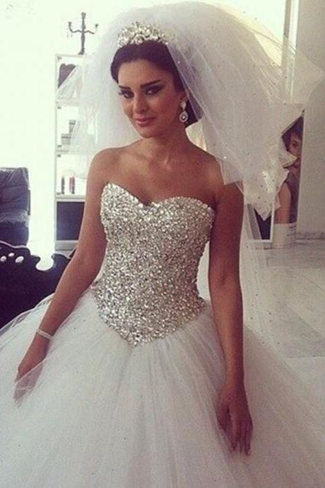 Bling Crystal Sweetheart Princess Wedding Dresses White Tulle Ball Gowns Bridal Dress Vestido De Noiva