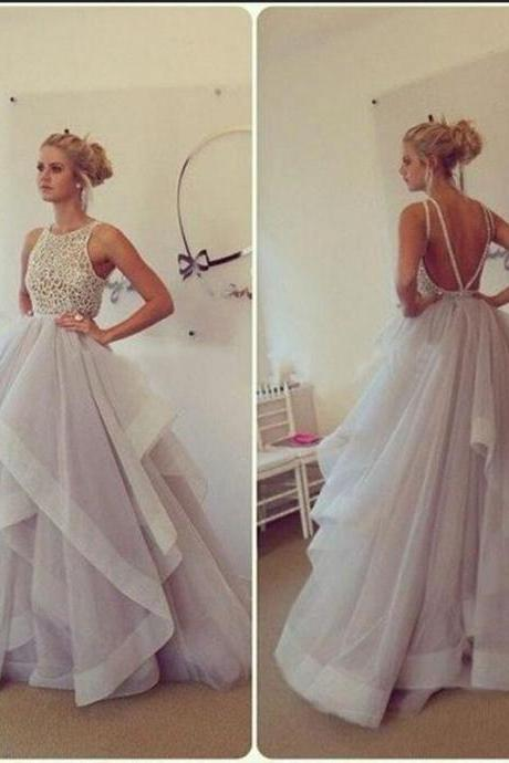 Ball Gown High Collor Khaki Tulle Lace Open Back Elegant Long Evening Dresses Evening Gown Vestido De Festa