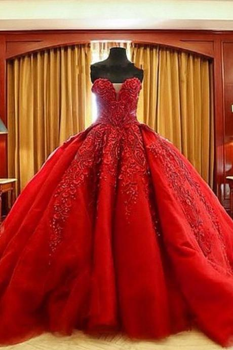 Vintage Bride Red Wedding Dress New Vestido De Noiva Sexy Sweetheart Charming Ball Gown Lace Appliques Bridal Gowns