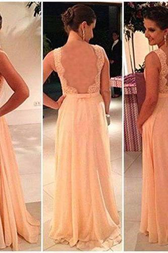vestidos de festa pink beads chiffon long evening dress formal women gowns free shipping In Stock