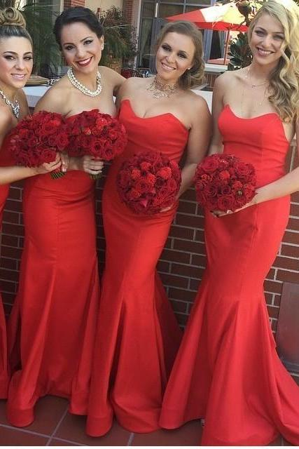 vestido de festa Red Long Cheap Bridesmaid Dresses Under 50 Sweetheart Off the Shoulder Chiffon Wedding Party Dres