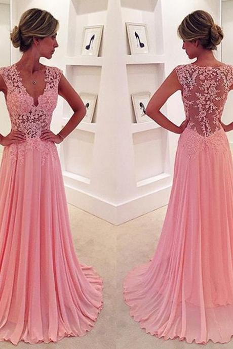 Pink Lace Appliques Long Chiffon See Through Evening Dresses 2016 Sexy Formal Prom Gowns