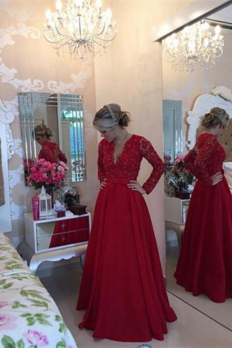 Elegant Red Evening Dresses Long Sleeve Beading Lace Bodice Satin Women Formal Gowns Sheer Back