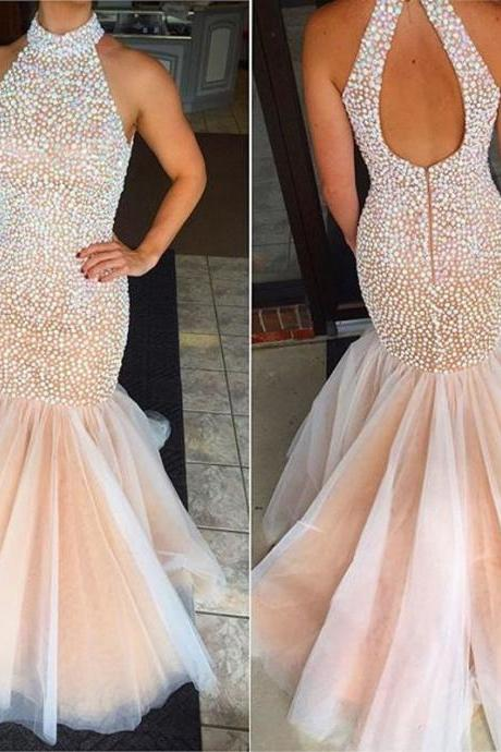 New Fashion Crystals Prom Dresses Sexy Beaded High Neck Backless Formal Pageant Gowns Fashionable Mermaid Party Dress