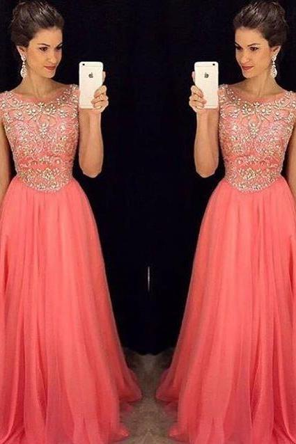 Hot Selling Long Coral Prom Dresses 2016 Elegant Scoop Beaded Evening Formal Gowns Party Dress Vestido De Festa