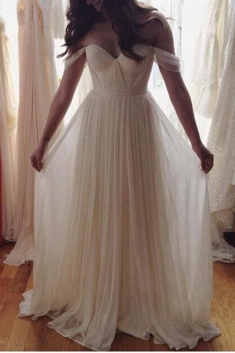 A-Line Sweetheart Sleeveless Empire Zipper Prom Floor-Length Chiffon White Prom Dresses