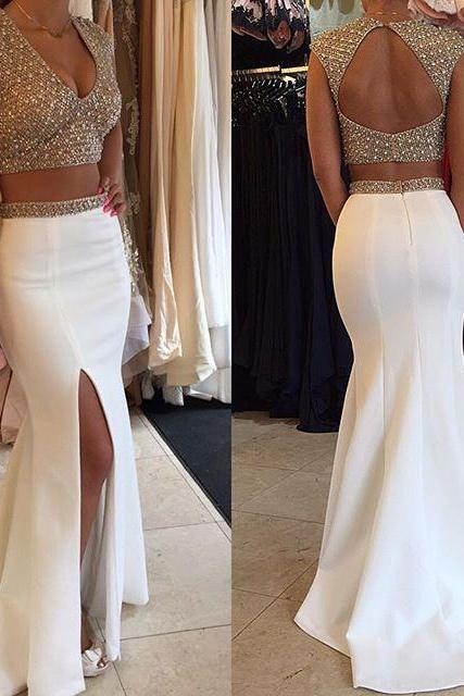 Prom Dresses Sexy Cheap Mermaid Two Pieces V-neck Keyhole Back Side Slit Prom Dress Long Formal Evening Dress Party Prom Gowns