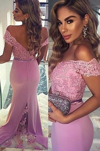 Prom Dresses Sexy Cheap Mermaid Pink V-neck Open Back Lace Prom Dress Long Formal Evening Dress Party Prom Gowns