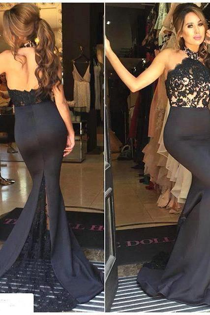 Prom Dresses Sexy Cheap Mermaid Black Sheer Bodice Lace Backless Prom Dress Long Formal Evening Dress Party Prom Gowns
