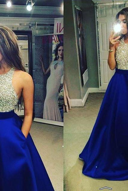 Prom Dresses New Arrival Sexy Cheap A-line Royal Blue Rhinestones Beads Satin Prom Dress Long Formal Evening Dress Party Prom Gowns