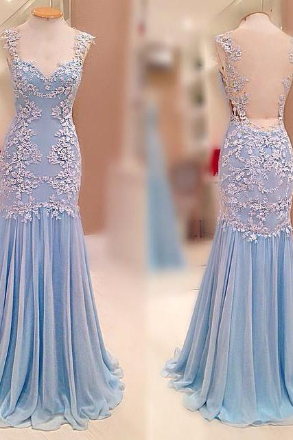 Prom Dresses Real Image New Arrival Sexy Unique Cheap Mermaid Turqoise V-neck Appliques Long Prom Dress Long Formal Evening Dress Party Prom Gowns