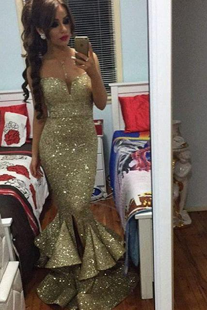 Prom Dresses New Arrival Sexy Cheap Golden Mermaid Sweetheart Sequins Lace Side Slit Prom Dress Long Formal Evening Dress Party Prom Gowns