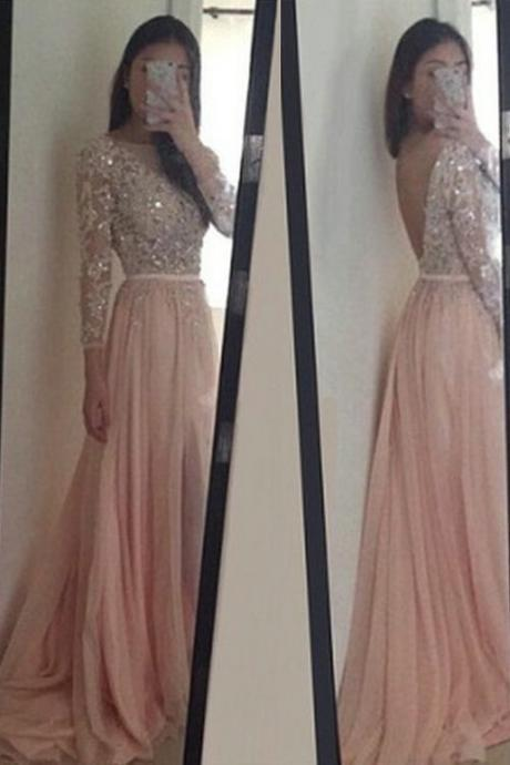 Prom Dresses New Arrival Sexy Cheap A-line Light Pink Sheer Neck Rhinestones Beads Crystals Appliques Backless Chiffon Prom Dress Long Formal Evening Dress Party Prom Go