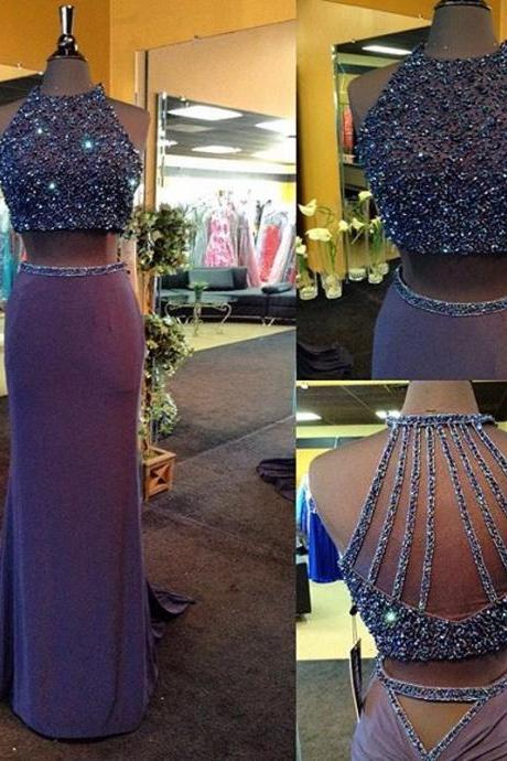 2016 Real Iamge Two Pieces Prom Dresses New Sexy Cheap Mermaid Lavendar Beads Crystals Bling Sparkle Luxury Rhinestones Backless Long Formal Party Gowns