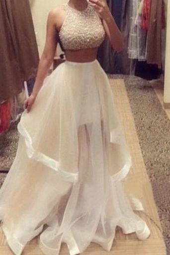 2016 Real Iamge Two Pieces Prom Dresses New Sexy Cheap A-line White Beads Crystals Bling Sparkle Luxury Rhinestones Sheer Back Chiffon Long Formal Party Gowns