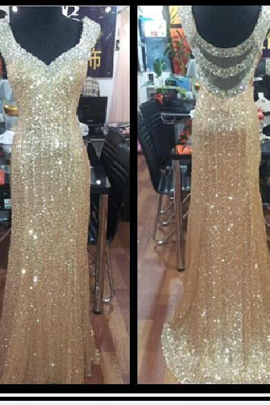 2016 Real Iamge Prom Dresses New Sexy Cheap Mermaid Bling Sparkle Luxury Champagne Sheer Back Sequins Lace Formal Party Gowns
