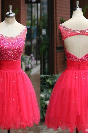 2016 Real Iamge Prom Dresses Sexy Cheap A-line Watermelon Scoop Keyhole Back Organza Mini Short Formal Party Gowns robes de bal