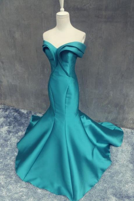 Real Image 2016 Sexy Cheap A-line Prom Dresses Mermaid Unique Hunter Off Shoulder Satin Long Formal Evening Party Gowns
