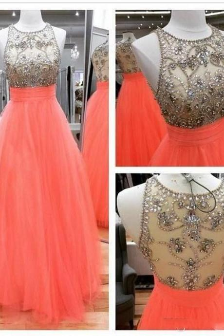 Real Image Sexy A-line Prom Dresses A-line Orange Sheer Neck Rhinestones Backless Long Formal Evening Party Gowns