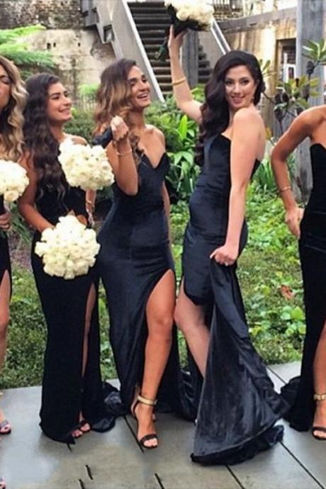 2016 Bridesmaid Dresses Cheap New Sexy Mermaid Black Sweetheart Side Slit Satin Long Bridesmaid Dress Gown Brautjungfer Kleider