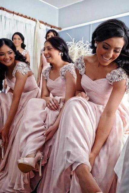 2016 Bridesmaid Dresses Cheap New Arrival A-Line Pink Sweetheart Cap Sleeves Beads Long Bridesmaid Dress Brautjungfer Kleider