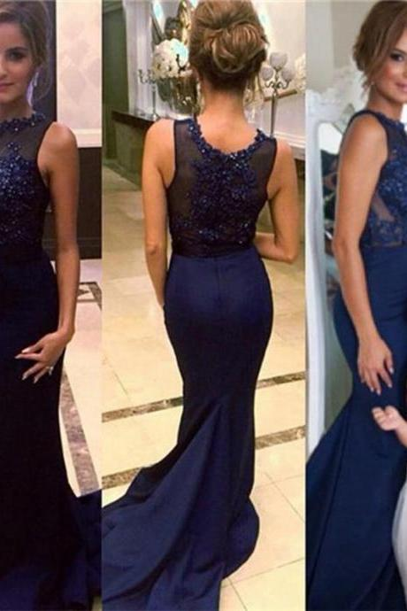 2016 Evening Dresses New Arrival Cheap Elegant Mermaid Dark Navy Beads Sheer Back Formal Long Prom Party Dress Gown Abendkleider