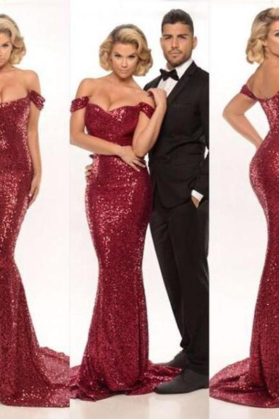2016 Evening Dresses New Cheap Sexy Mermaid Burgundy/Red Wine Off Shoulder Sequin Formal Long Prom Party Dress Gown Abendkleider
