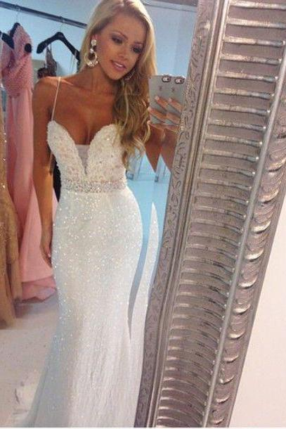 2016 Evening Dresses New Arrival Cheap Sexy White/Ivory Mermaid Sweetheart Sequins lace Long Formal Prom Party Gowns Gowns