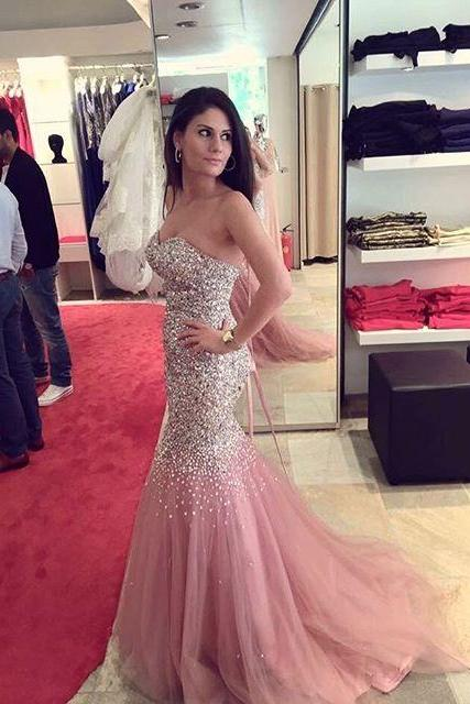 2016 Evening Dresses New Arrival Cheap Sexy Luxury Sparkle Bling Pink Mermaid Sweetheart Beads Formal Prom Party Gowns