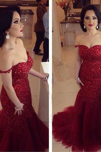 Prom Dresses Sexy Mermaid Sweetheart Off Shoulder Beads Long Formal Evening Party Gowns robes de bal Ballkleid