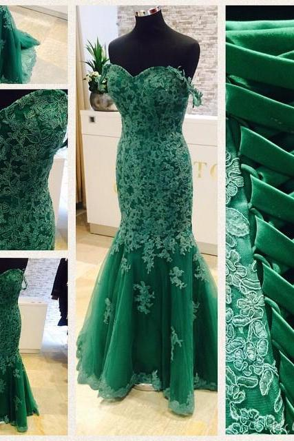 2016 Prom Dresses Cheap Real Image Mermaid Green Sweetheart Appliques Lace Up Formal Evening Party Gowns robes de bal