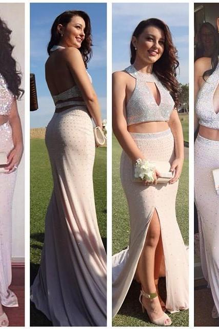2016 Prom Dresses Cheap New Sexy Mermaid Two 2 Pieces Crew Beads Crystals Side Slit Long Formal Evening Party Gowns robes de bal