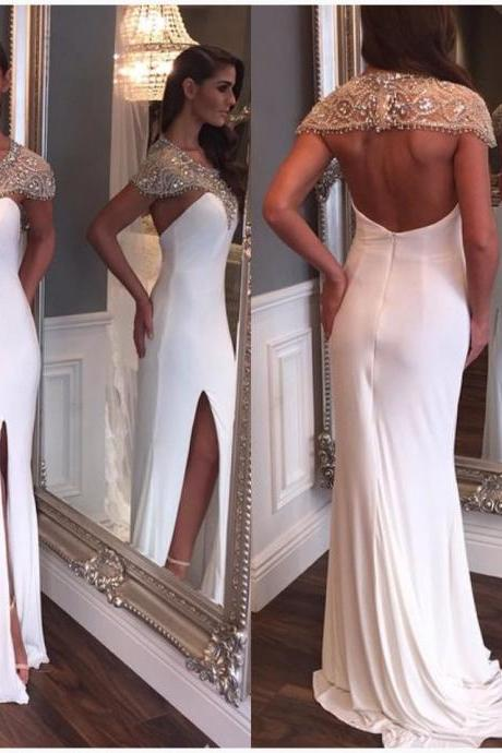 2016 Prom Dresses Sexy White Mermaid Cap Sleeve Sheer Rhinestones Crystal Backless Formal Evening Party Gowns robes de bal
